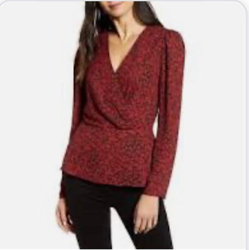 Burgundy Floral long sleeves Top