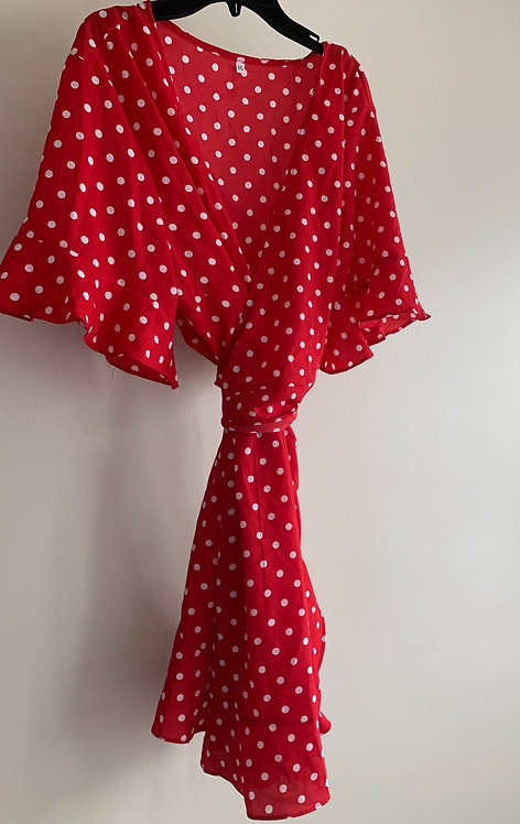 Chic Red Dotted Dress