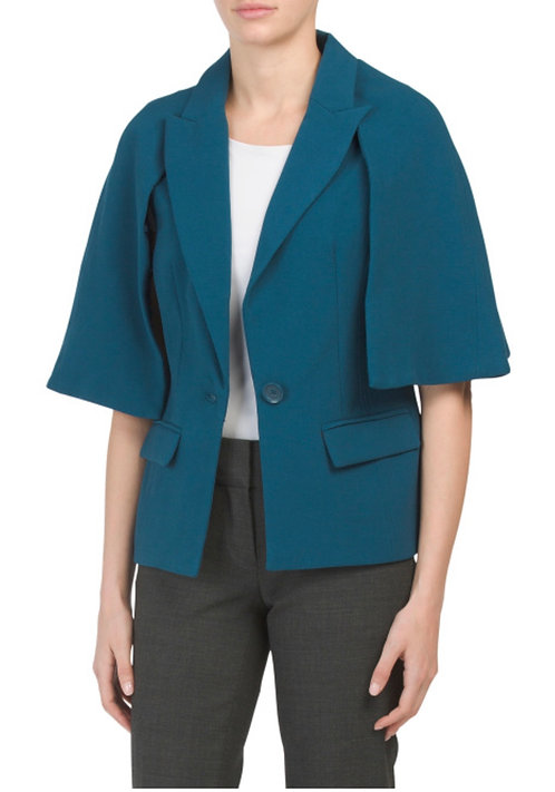 Blue Crepe cape Jacket