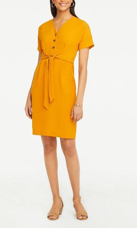 Ann Taylor Mustard Belt Dress