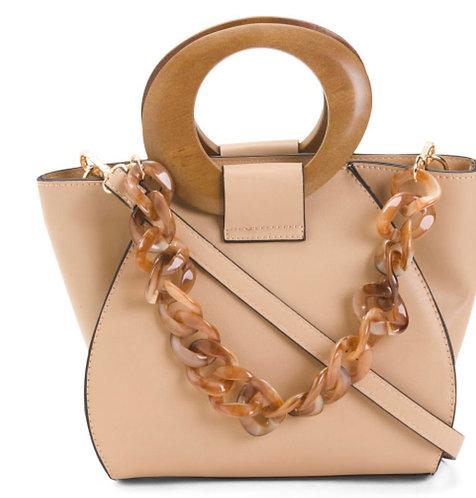 Buckle Strap Tan Handbag