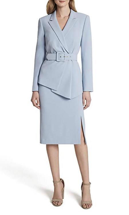Tahari Sky Blue Skirt Suit Size 10-14