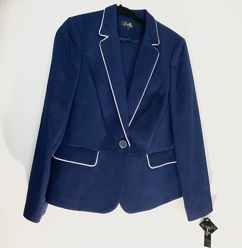 Blue White Piped Skirt Suit