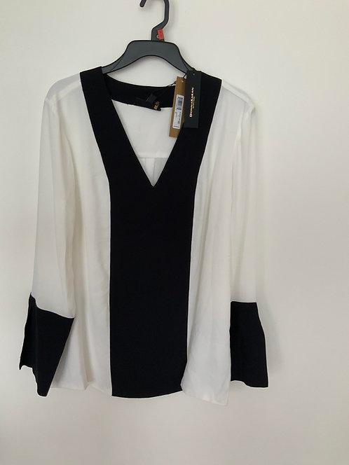 DKYN Black/White long Blouse Top