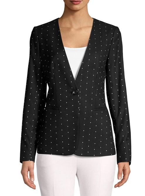 DKNY Black and  White Polka Dots Blazer size