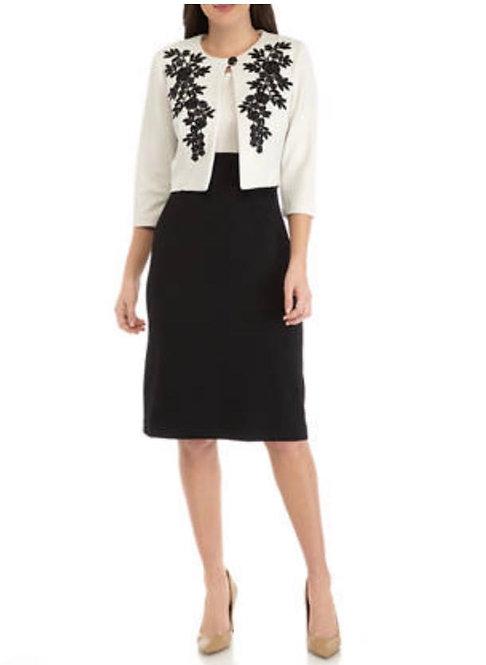 Black & White Floral Dress Suit
