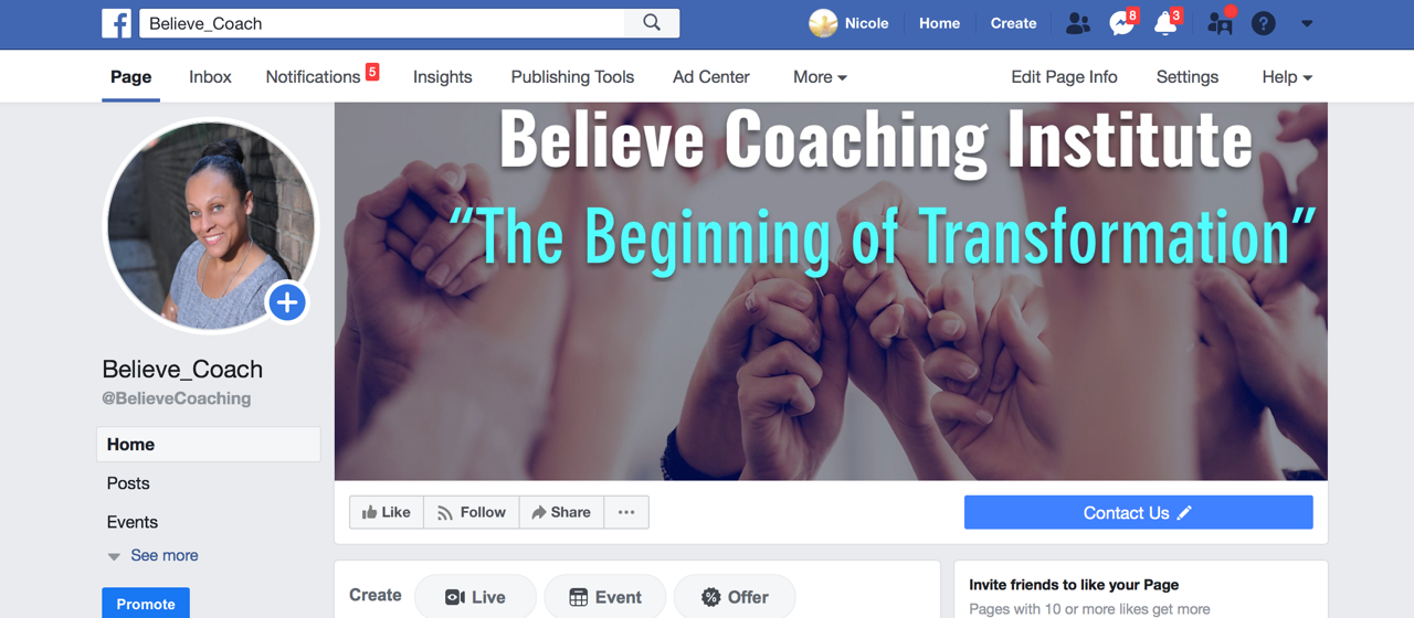 Believe Coaching FB page