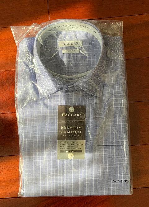 Haggar Blue Plaid Shirt  Size 15