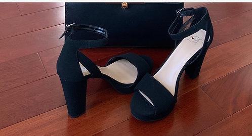 Black Block Suede Women's  Heels