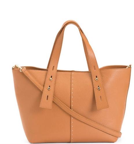 Adjustable Straps Tan Italian Tote Genuine Leather