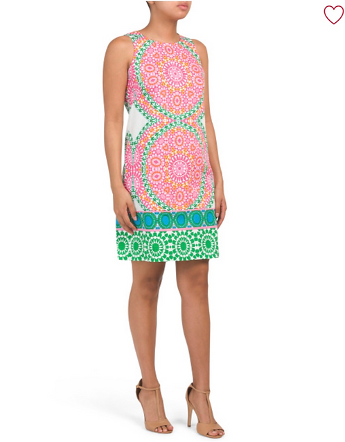 London Times Pink and Green Summer Dress