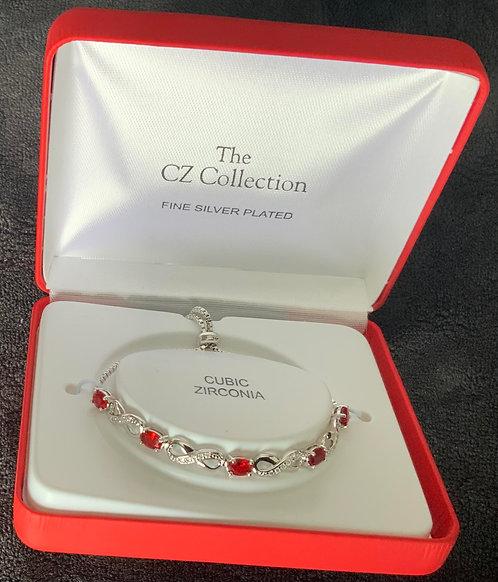 CZ Collection Red Swirl Gemstone Bracelet