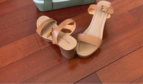 Brown Block Heel Women's Sandals