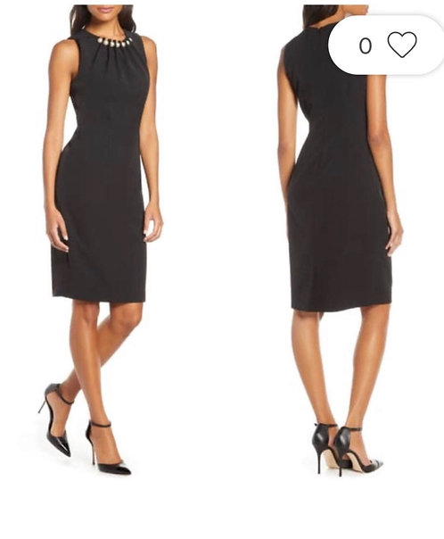 Pearl  Neckline  Black Dress