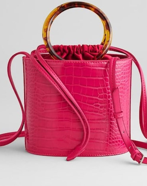 Pink Croc Bucket Handbag