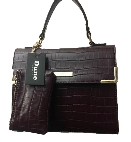 Dune London Burgundy Croc Handbag