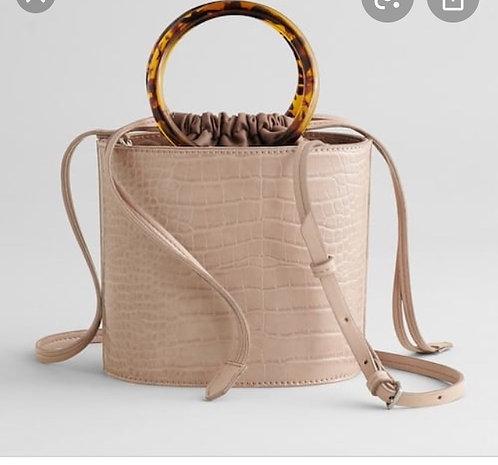 Tan Croc Bucket Handbag