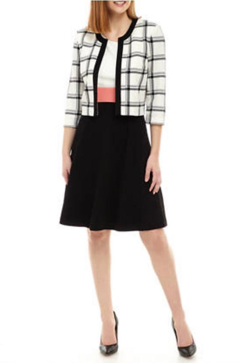 Big Plaid Black & White/Coral Dress Suit