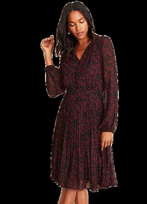 Ann Taylor Black and Burgundy Dress