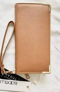 Brown Women's Wallet with gold trim