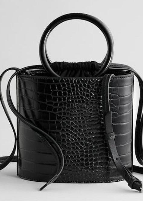 Black Croc Bucket Handbag