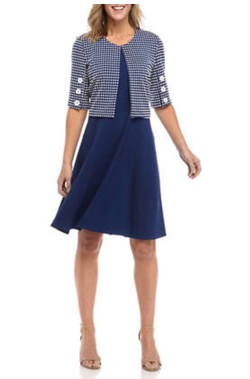 Checkered  Blue & White Dress Suit