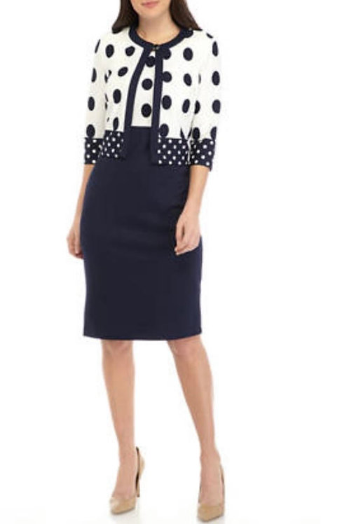 Dotted Black & White Dress Suit