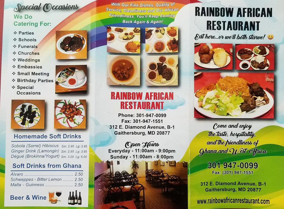 Rainbow African Restaurant Flyer