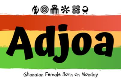 Fridge Magnet Souvenir Ajoa - Female born on Monday