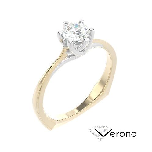 """""""Verona"""" pierścionek z diamentem z żółtego i białego złota"""