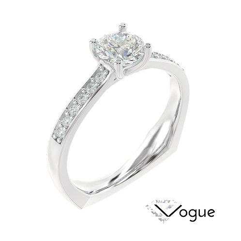 """""""Vogue"""" pierścionek z diamentem z białego złota"""