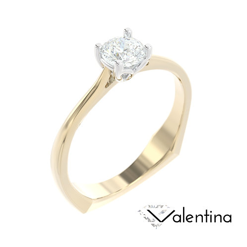 """""""Valentina"""" pierścionek z diamentem z żółtego i białego złota"""
