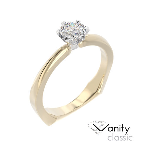"""""""Vanity Classic"""" pierścionek z diamentem z żółtego i białego złota"""