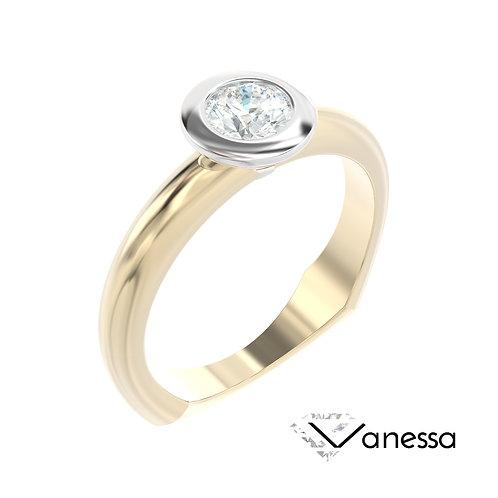 """""""Vanessa"""" pierścionek z diamentem z żółtego i białego złota"""