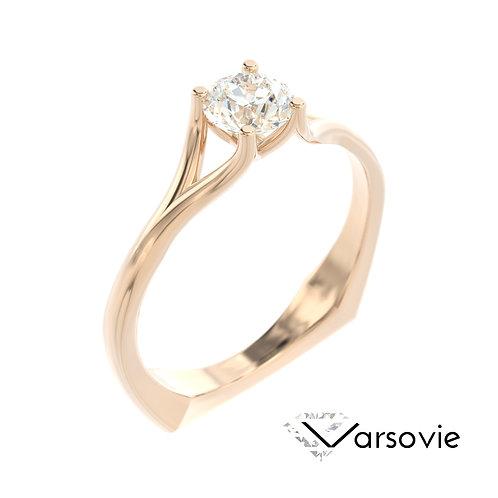 """""""Varsovie"""" pierścionek z diamentem z różowego złota"""