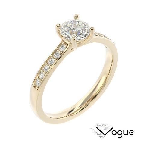 """""""Vogue"""" pierścionek z diamentem z żółtego złota"""