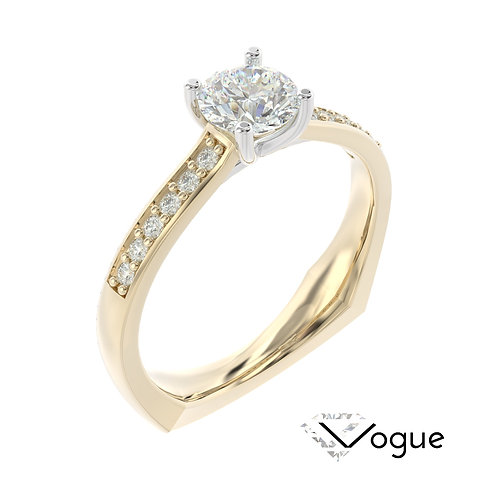 """""""Vogue"""" pierścionek z diamentem z żółtego i białego złota"""