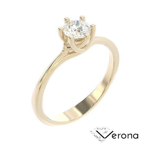 """""""Verona"""" pierścionek z diamentem z żółtego złota"""