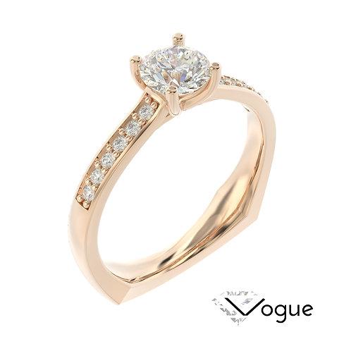 """""""Vogue"""" pierścionek z diamentem z różowego złota"""