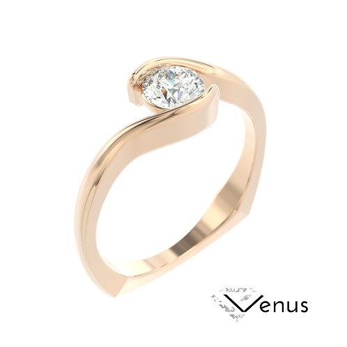 """""""Venus"""" pierścionek z diamentem z różowego złota"""