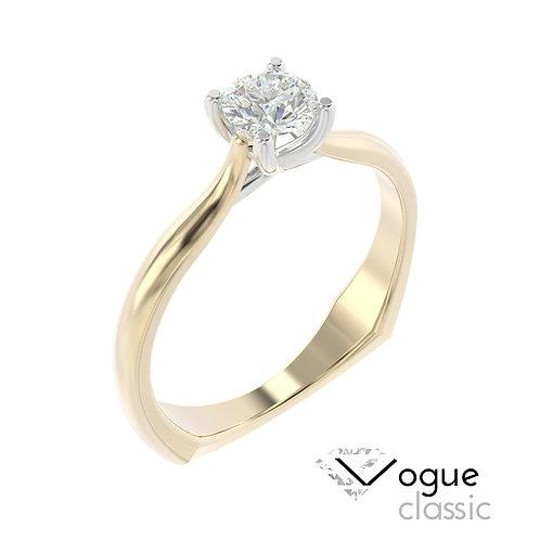 """""""Vogue Classic"""" pierścionek z diamentem z żółtego i białego złota"""