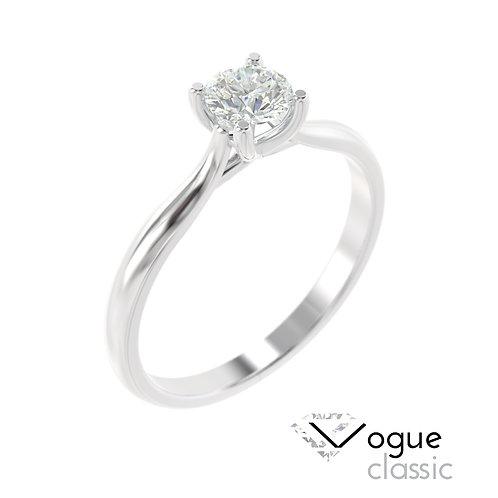 """""""Vogu Classic"""" pierścionek z diamentem z platyny"""