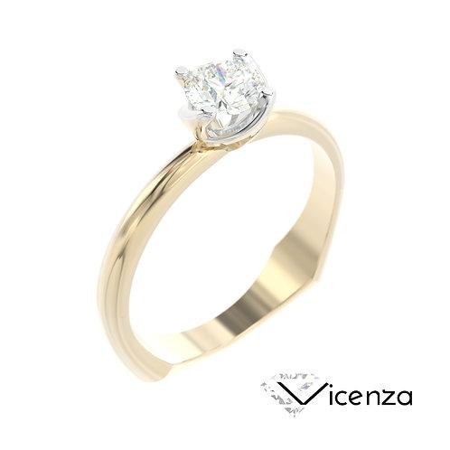 """""""Vicenza"""" pierścionek z diamentem z żółtego i białego złota"""