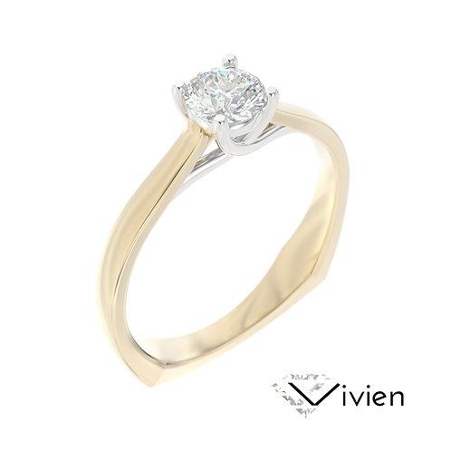 """""""Vivien"""" pierścionek z diamentem z żółtego i białego złota"""