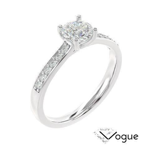 """""""Vogue"""" pierścionek z diamentami z platyny"""