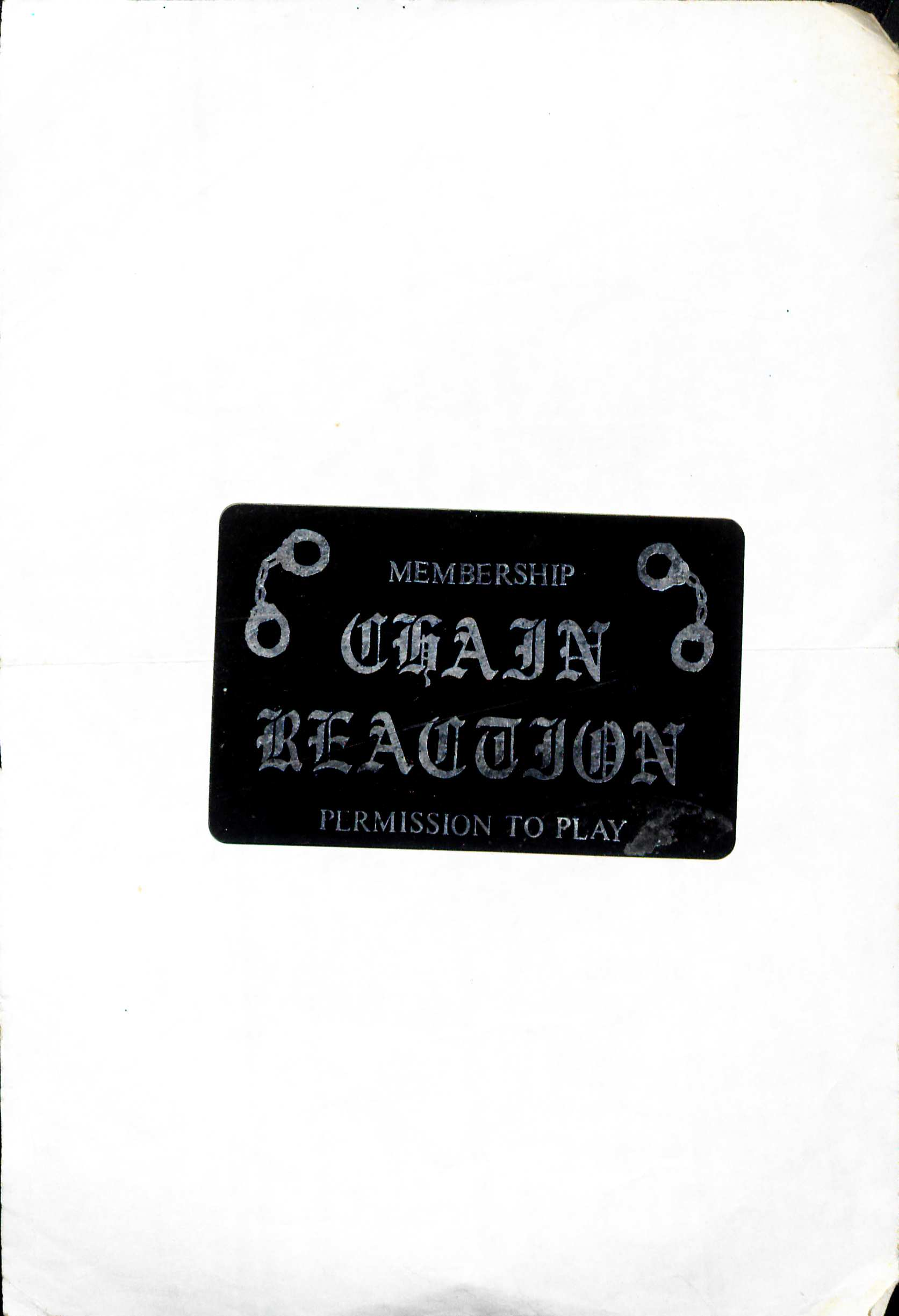 Chain Reaction membership card