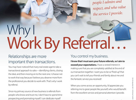 Why I work by Referral