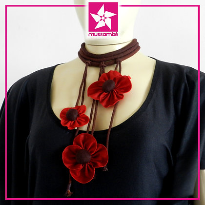 Maxi Gargantilha de Flores Vermelhas