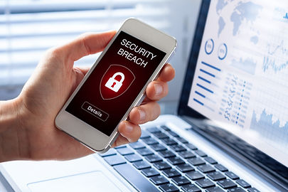 Security breach warning on smartphone sc
