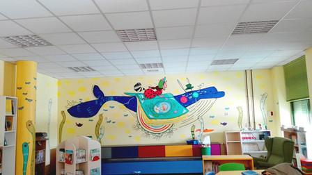Mural biblioteca infantil Lectura Abisal